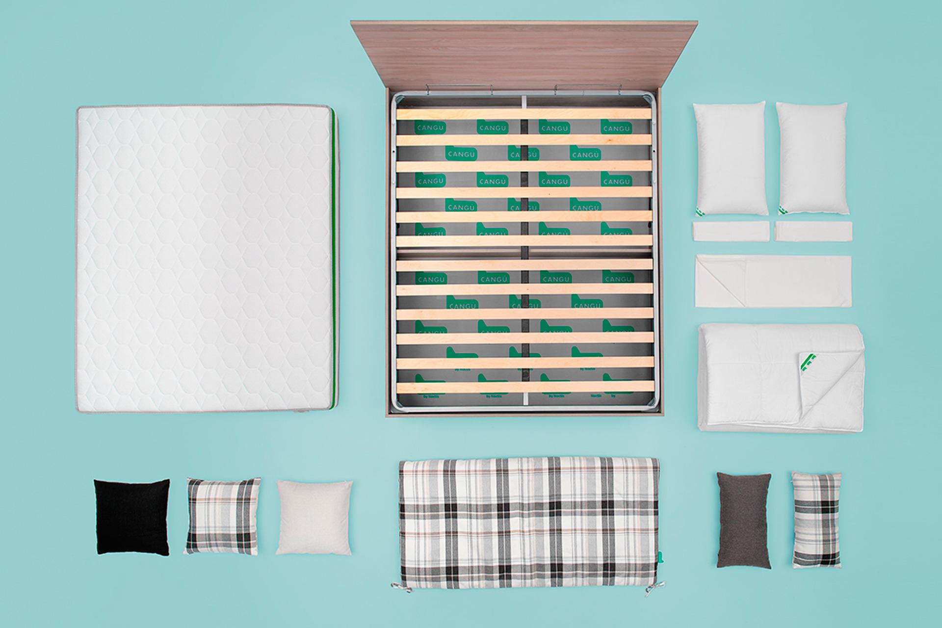 Set completo composto da letto contenitore materasso rete e biancheria - Letto completo di rete e materasso ...